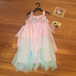 NWT SZ 6 Pink & Blue Biscotti Girls Dress Flowers
